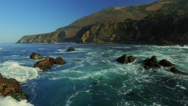 Big Sur Aerial waves breaking on Coastline