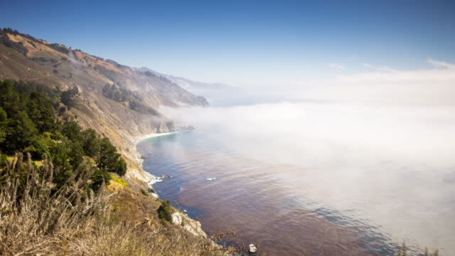 big sur sea mist - time lapse - clear sky stock videos & royalty-free footage