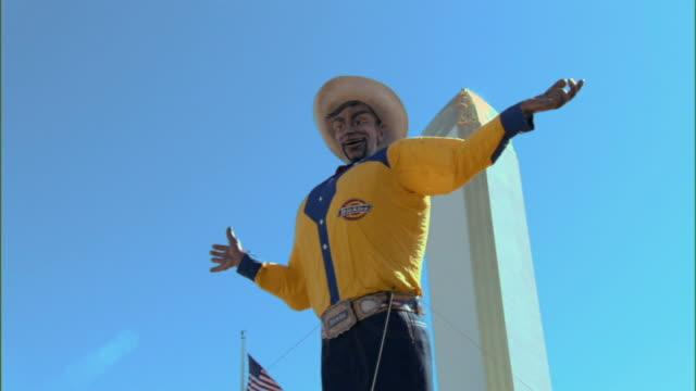 CU, ZO, WS, Big Tex  cowboy in amusement park Dallas, Texas, USA