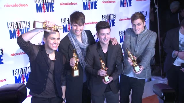big time rush members carlos pena jr james maslaw kendall schmidt and logan henderson at 'big time movie' starring big time rush original tv movie... - kendall schmidt stock videos & royalty-free footage