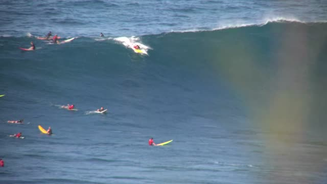 stockvideo's en b-roll-footage met big wave surfing hawaiian islands 25 - 40 feet face of the wave outer island north shore maui extreme ocean action sports - big wave surfing
