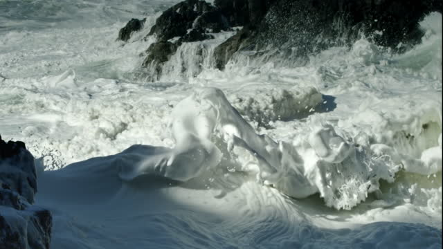 big waves crashing on rocky shore - cliff stock videos & royalty-free footage