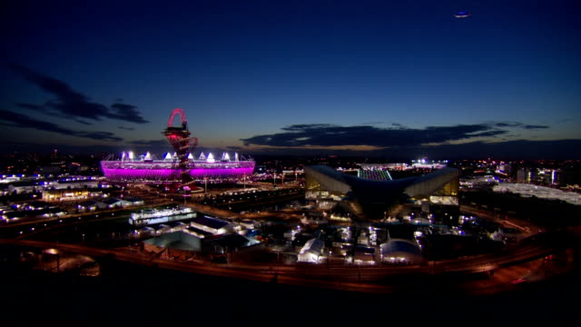 big wide shot of the london 2012 olympic park in the twilight hour time-lapse olympic park dusk at olympic park on august 03, 2012 in london, england - 2012 stock videos & royalty-free footage