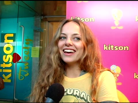 bijou phillips on her love for tweety bird, the types of hair colors she's had and her impression of tweety at the launch of 'tweety' collection by... - bijou phillips stock videos & royalty-free footage
