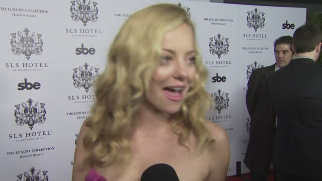 bijou phillips on what she's wearing, on coming out tonight, on what she expects from the sls hotel, and on her well wishes for the sls hotel at the... - bijou phillips stock videos & royalty-free footage