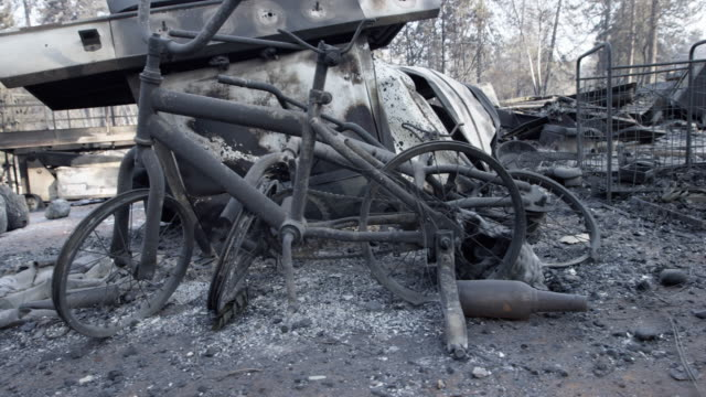 bike burned in california fire, close up - burnt stock videos & royalty-free footage