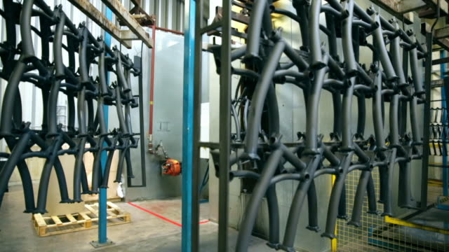 bike frames on production line in factory - bicycle stock videos & royalty-free footage