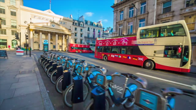 Bike hire station in London.