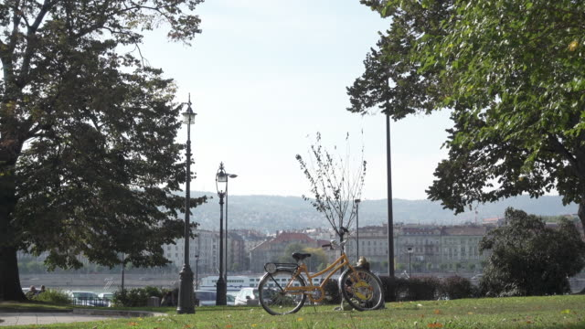 Bike in a Budapest park in front Danube