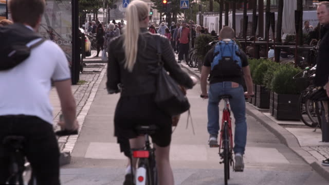 bike lane in copenhagen - copenhagen video stock e b–roll