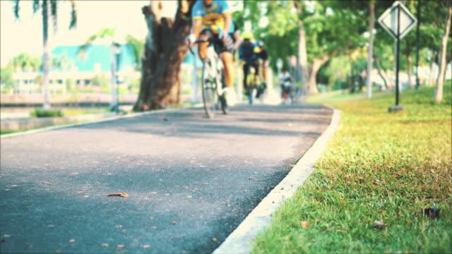 radweg im öffentlichen park - footpath stock-videos und b-roll-filmmaterial