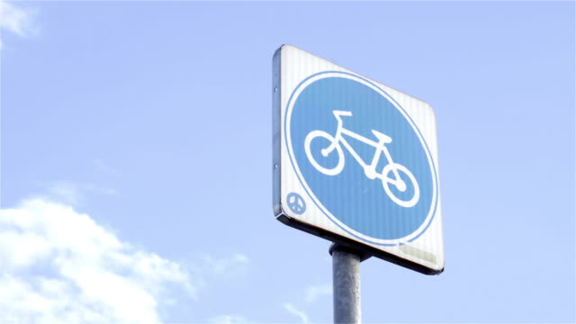 bike lane sign. - road sign stock videos & royalty-free footage