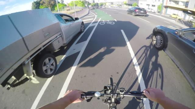 bike lane pov - handlebar stock videos & royalty-free footage