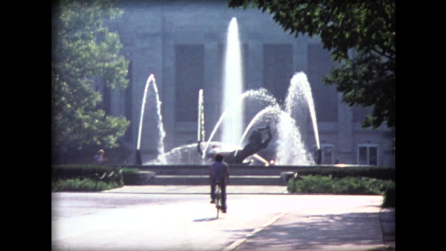 1974 bike near water fountain - 1974 stock videos and b-roll footage