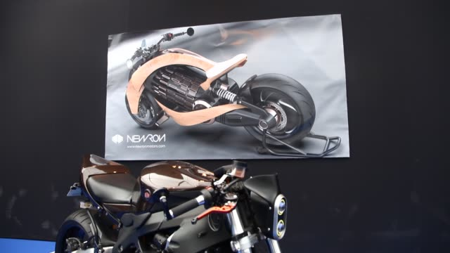 A bike of New Ron Motors during the conceptcars exhibition and automobile design in Paris on February 1 2019 The latest conceptcars and supercars are...