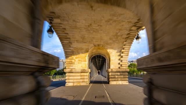 bike path on bridge - pont de bir hakeim stock videos & royalty-free footage