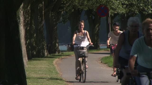 bike ride, arhus, denmark - scandinavian culture stock videos and b-roll footage