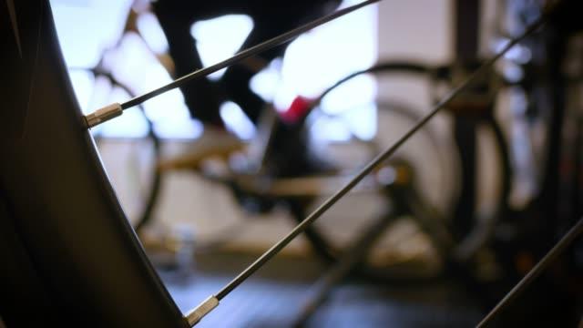 cu of bike wheel exercising - pedal stock videos & royalty-free footage