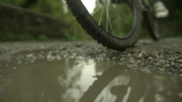 Bike wheel through puddle