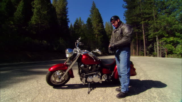 ms pan biker putting on gloves + driving motorcycle on road in sierra national forest / fresno county, california, usa - leather jacket stock videos and b-roll footage