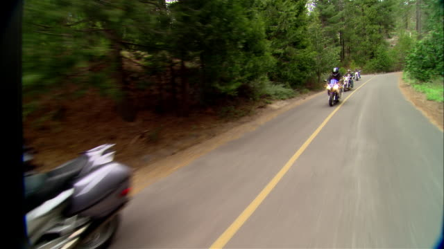ws bikers driving motorcycles on curvy road in sierra national forest / fresno county, california, usa - 国有林点の映像素材/bロール
