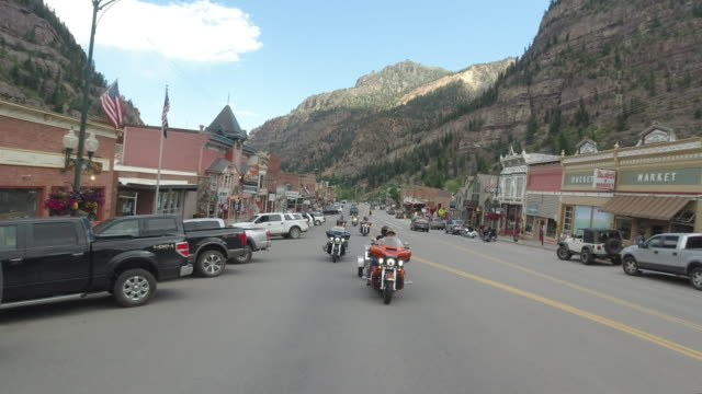 bikers driving to ouray, colorado, usa, amid the 2020 coronavirus pandemic - colorado stock videos & royalty-free footage