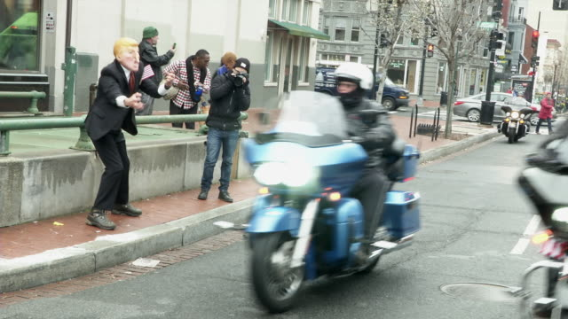 bikers for trump rode through and gathered at dupont circle before the trump inauguration - dupont circle stock videos & royalty-free footage