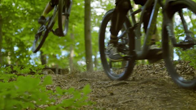 スーパースローmo mtbバイカーは、森を通ってトレイル上のランプを飛び越えます - 外乗点の映像素材/bロール