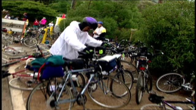 Bikes Laying on Ground and Bike Riders in Malibu California