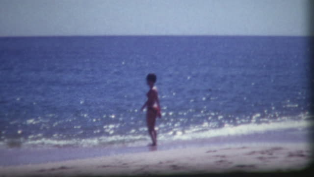 bikini beach vintage 1960's - home movie stock videos & royalty-free footage