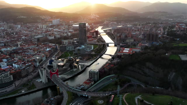 bilbao from above - spain stock videos & royalty-free footage