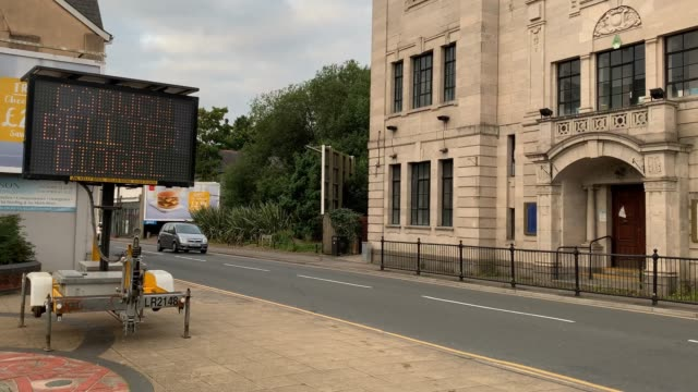 bilingual solar-powered social distancing reminder signs have been placed on the entry to the town centre on september 10, 2020 in blackwood, wales.... - town stock videos & royalty-free footage