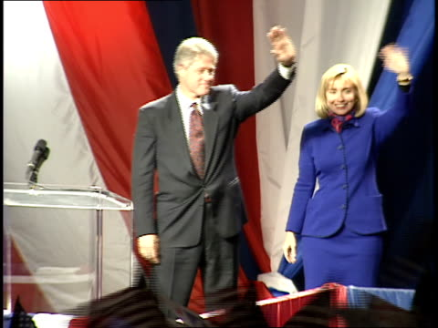 bill and hillary clinton and al and tipper gore take the stage and wave at the cheering crowd at a rally following bill clinton's victory in the 1992... - tipper gore stock videos & royalty-free footage