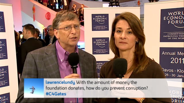 Bill and Melinda Gates interview at the World Economic Forum ENGLAND London GIR INT Bill Gates and Melina Gates 2WAY interview from Davos Switzerland...