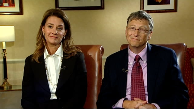 Bill and Melinda Gates interview ENGLAND London INT Bill Gates and wife Melinda Gates interview SOT [Bill] On the Living Proof campaign / historical...