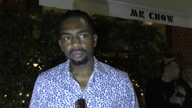 interview bill bellamy talks about a how to be a player sequel outside the saint for st jude charity event at mr chow in beverly hills in celebrity... - bill bellamy stock videos and b-roll footage