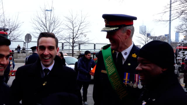 bill blair is the grand marshal of the 28th st patrick's day parade he is also the toronto chief of police - chief leader stock videos & royalty-free footage