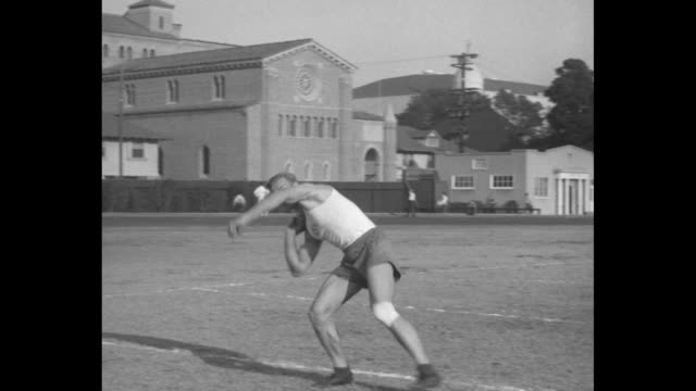 bill chisholm, race walker moves, past the camera / two shots of herman brix doing shot put / harlow rothert doing shot put / manley edwards does... - javelin stock videos & royalty-free footage