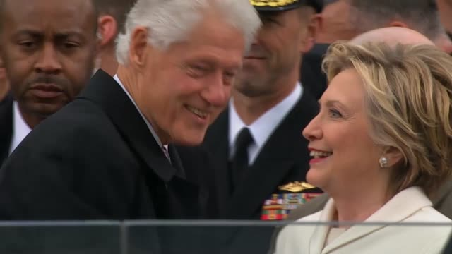 bill clinton and hillary clinton arrive at the capitol for donald trump's inauguration - bill clinton stock videos & royalty-free footage