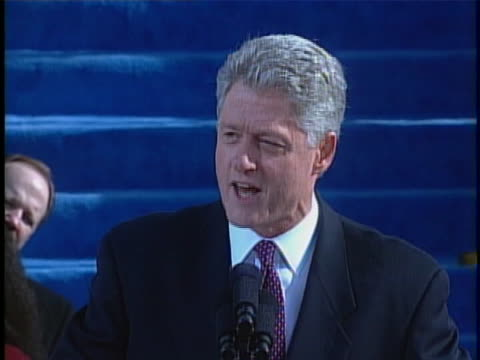 bill clinton talks about peace, diplomacy, and democracy during the address at his second inauguration. - oath stock videos & royalty-free footage