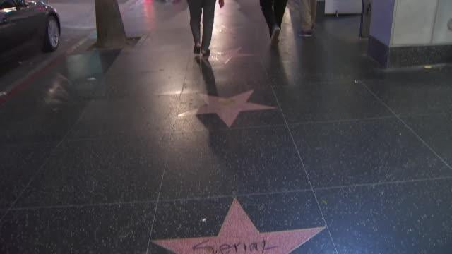 vídeos de stock e filmes b-roll de ktla bill cosby's walk of fame star vandalized with the words 'serial rapist' - hollywood walk of fame
