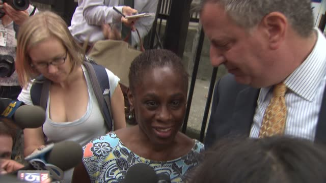 bill de blasio and wife chirlane mccray vote on mayoral primary election day chirlane mccray says husband's primary is exciting on september 10 2013... - mixed race person stock videos & royalty-free footage