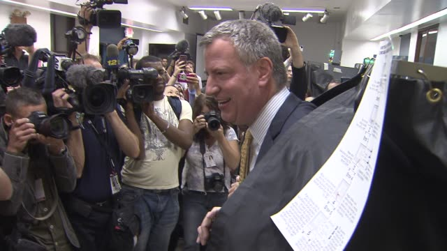 Bill de Blasio and Wife Chirlane McCray Vote on Mayoral Primary Election Day Bill de Blasio Emerges From Voting Booth on September 10 2013 in...