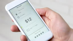 Bill for taxi ride on a smarthpne application rating five stars
