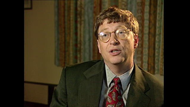 bill gates talks about the development of computers saying 'they will continue to improve in power and they will also come down in cost and over time... - mp3 player stock videos & royalty-free footage