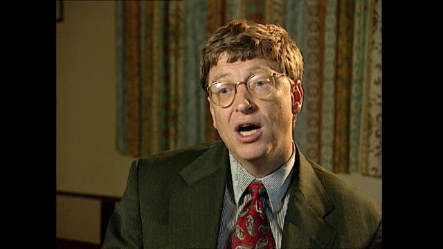 bill gates talks about the future functionality of computers being able to pay bills do banking and book flights - mp3 player stock videos & royalty-free footage