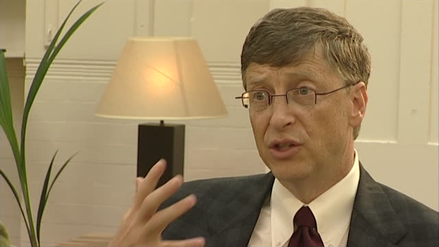 bill gates values google as a competitor saying 'it's pushing us on the internet search, we enjoy that..the value of competition..that's great' - interview raw footage stock videos & royalty-free footage
