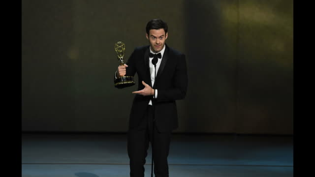 vídeos de stock, filmes e b-roll de bill hader accepts the outstanding lead actor in a comedy series award for 'barry' onstage during the 70th emmy awards at microsoft theater on... - 70th annual primetime emmy awards