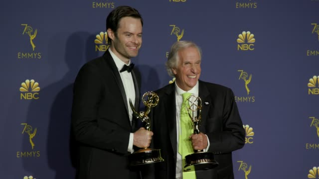 Bill Hader and Henry Winkler at the 70th Emmy Awards Photo Room at Microsoft Theater on September 17 2018 in Los Angeles California