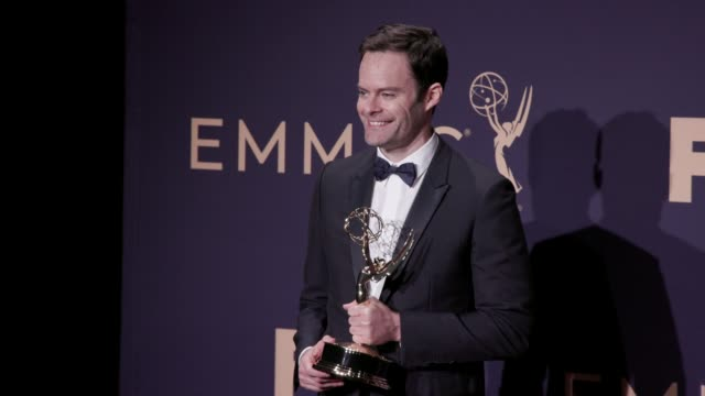 vídeos y material grabado en eventos de stock de bill hader at the 71st emmy awards - press room at microsoft theater on september 22, 2019 in los angeles, california. - premios emmy